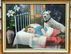 Antique Victorian Print Colorful Lithograph Bull Terrier Child Sleeping Framed