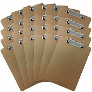 Trade Quest Letter Size Clipboard Low Profile Clip Hardboard pack Of 24