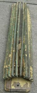 Antique Wooden 10 Spindle Wall Steinfel Drying Rack In Green Yellow Chippy Paint