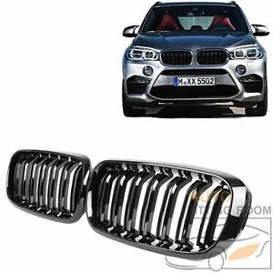 Gloss Black Dual Slat Front Bumper Grille Grill For Bmw F15 X5 F16 X6 2014 18
