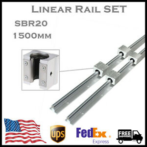 Sbr20 1500mm Linear Rail Fully Supported Guide Shaft 4pc Sbr20uu Block Bearing