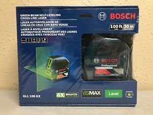 Bosch Gll 100 Gx Green Beam Self leveling Cross Line Laser 100 Ft new Sealed