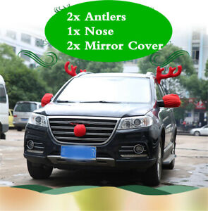 5pcs Set Antlers Red Nose Mirror Cover Car Truck Exterior Christmas Ornaments