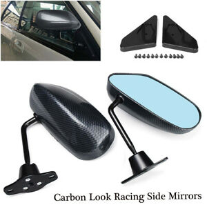 2x Side Mirror Rearview Front Left Right Look Universal Carbon Style Racing Car