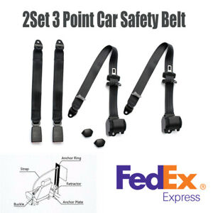 2 Sets Black 3 point Auto Retractable Car Safety Seat Belt Bent Buckle Clip usa