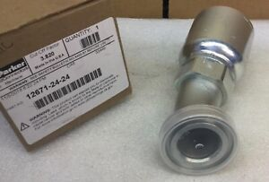 Parker 12671 24 24 1 1 2 Crimp style Sae61 Flanged Hydraulic Fitting New In Box