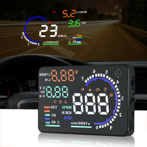 A8 5 5in Vehicle Hud Head Up Display Obd Ii Obd2 Auto Gauge Speed Warning System