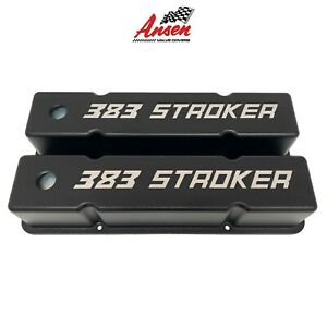 Small Block Chevy Sbc Tall 383 Stroker Engraved Valve Covers Black