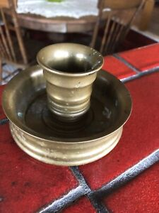 Antique Brass Candle Holder Weighted For Ship Very Heavy Ww Ii Trench Art