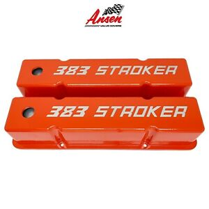 Small Block Chevy Sbc Tall 383 Stroker Engraved Valve Covers Orange