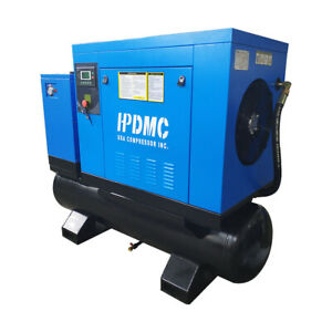 10 Hp 3ph 230v Asme 80 Gal Rotary Screw Air Compressor With Refrigerated Dryer