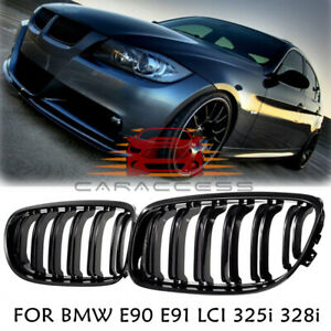 For 2009 2011 Bmw E90 E91 Lci 325i 328i 4d Front Kidney Grill Grille Gloss Black