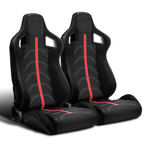 2 X Universal Jdm Black Pvc Leather Red Strip Left Right Racing Bucket Seats