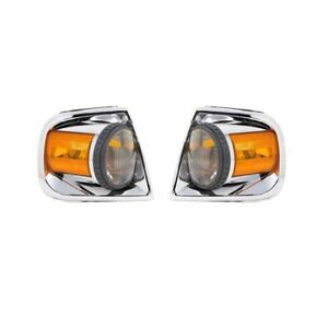 Fits 97 03 Ford F 150 Pickup Corner Lights Pair Clear Amber