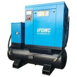 Hpdmc 230v Rotary Screw Air Compressor 3phase W 130gallon Tank 3600rpm 15kw 20hp