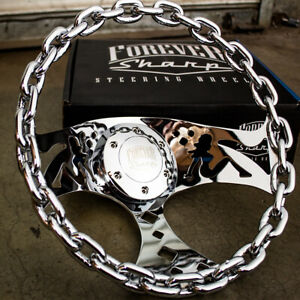 11 Chrome Chain Steering Wheel With Lady Cutouts And Horn For Chevy Trucks Cars