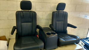 2 Black Leather Bucket Seats Console Red Stitched Van Bus Hotrod Vanagon