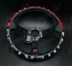 320mm Vertex 1996 Red Stitch Leather Deep Dish Steering Wheel For Omp Momo Rac