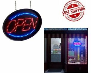 13 In Store Shop Led Neon Oval Open Sign Four Display Modes Acrylic Cover