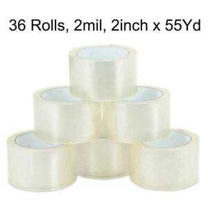 36 Rolls 2 Inch X 55 Yards 165 Ft Clear Carton Sealing Packing Package Tape