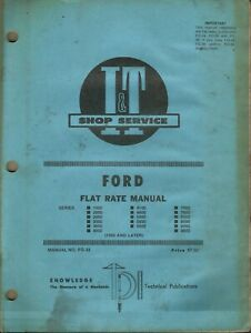 I t Ford Series 1000 2000 2600 3000 3600 4000 No Fo 33 Tractor Flat Rate Manual