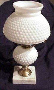 Vintage 12 White Milk Glass Hobnail Bedroom Boudoir Bedside Vanity Accent Lamp