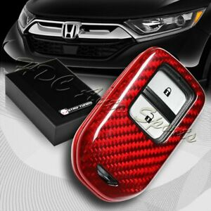 For Honda Accord Civic Fit Odyssey Real Red Carbon Fiber Remote Key Shell Cover