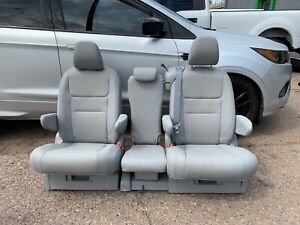 Bucket Seats Middle Seat Gray Leather With Brackets Truck Van Bus Hotrod Rv