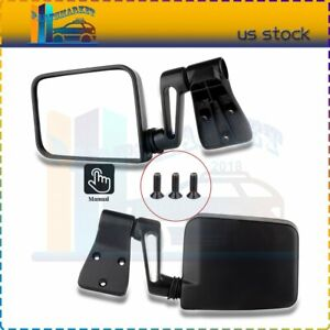 Manual Left right Side View Black Door Mirrors For 87 02 Jeep Wrangler Pair Set
