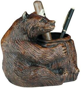 Mountain Pencil Holder Rustic Sitting Bear Resin Hand painted Hand cast