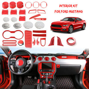 36x Red Inner Decoration Cover Full Set Kit For Ford Mustang 2015 17 Accessories
