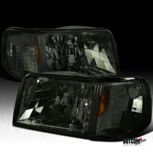 For 1993 1997 Ford Ranger Smoke Lens Tinted 1pc Style Headlights Signal Lamps