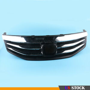 1pcs Chrome Front Hood Bumper Upper Mesh Grille For 2011 To 2012 Honda Accord