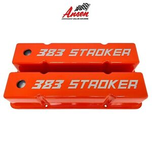 Ansen Small Block Chevy Sbc Tall 383 Stroker Laser Engraved Orange Valve Covers