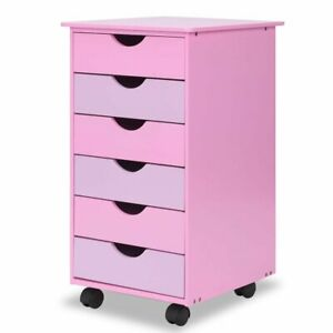 6 Drawer Wooden Rolling Organizer Mobile File Cabinet