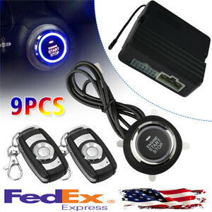 Car Suv Keyless Entry Push Button Remote Engine Start Kit Security Alarm System