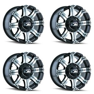 Set 4 17 Ion 187 Black Machined Rims 17x9 6x135 6x5 5 18mm Ford Chevy Gmc 6 Lug