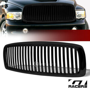 For 2002 2005 Dodge Ram Black Vertical Billet Front Hood Bumper Grill Grille