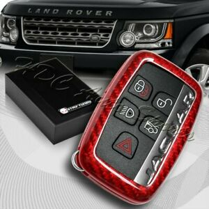 For Land Rover Range Rover Discovery Real Red Carbon Fiber Remote Key Fob Cover