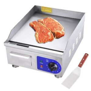 15 1500w Electric Countertop Griddle Flat Top Commercial Restaurant Grill Bbq