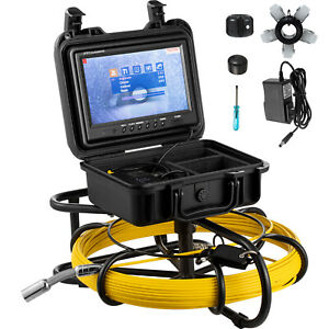 200ft Pipe Inspection Camera Hd 1200 Tvl Drain Sewer Camera 9 Lcd Monitor