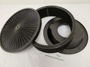 14 X 4 Flow Through Air Cleaner Kit Black Washable Filter Recessed Base Stud