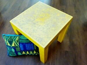 Vintage Yellow Parsons Table W Textured Patterned Top Kartell Style Mcm Pop Art