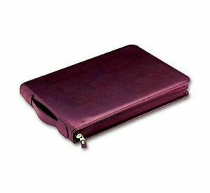 3 On A Page Real Leather Zippered Portfolio 7 Ring Check Binder burgundy