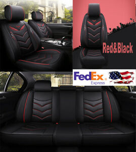Black Red Pu Leather Car Seat Covers 5d Surround Full Set For 5 seats Car Suv