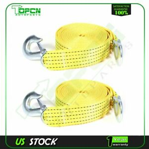2 20ft 6m 6600bs Tow Strap W Hooks Winch Sling Off road Suv Auto Jeep 2pcs