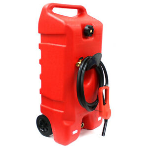 14 Gallon Portable Gas Can Fuel Caddy Transfer Tank Poly Container W nozzle Pump
