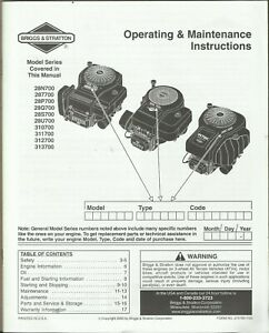 Briggs Stratton Engine Model 28n700 287700 28p700 Operating Instructions