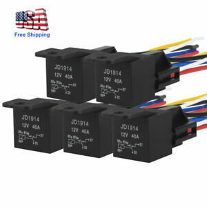 5pcs 12v 40amp Bosch Relay Harness Kit 5pin Spdt Automotive Relay Wires Socket
