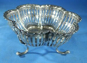 Antique Silver Pierced Footed Candy Dish Bowl Birmingham 1922 60g Free Ship
